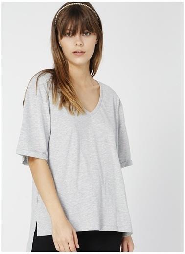 Fabrika Fabrika Talita Gri Melanj V Yaka Kadın T-Shirt Gri